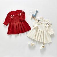 ZHBB INS Korean Australia Baby Kids Girls Knitted Sweaters Dresses Newborn Long Sleeve Flower Embroidery Warm Toddler Princess Dress