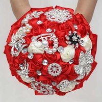 Decorative Flowers & Wreaths Handmade Red Rose Bridal Wedding Bouquet Holder Crystal Diamond Brooch Bridesmaid Flower Custom W2280