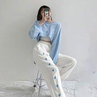 Pantalon Femme Capris Vangull Fashion Coeur Broderie Femmes Sports Haute Taille Élastique Bande Élastique Spring Printemps Loose Cordon Cordon Jogger