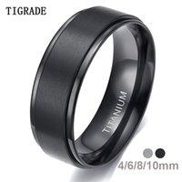 Tigrade 4 6 8 10mm Black Titanium Ring Man Brushed Wedding Band Women Engagement Rings Silver Color Bague Femme anneau bTGY3