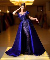 ASO EBI 2021 Árabe Royal Azul Luxuoso Vestidos de Noite Frisados Cristais Prom Vestidos Pedidos Pedidos Formal Party Second Recepção Vestidos ZJ062