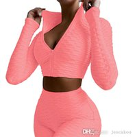 Women Designer Tracksuits 2 Piece Sets Zipper Jacket Pants Yoga Suits Solid Color Pineapple Tops Legging Outfits Fall Winter