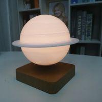 Levitating 3D Printing Moon Night Lights Rotatable Indoor Lighting LED light Magnetic Levitation Diameter 14cm Round Spherical Lamps Novelty Lamp for Kid Sleeping
