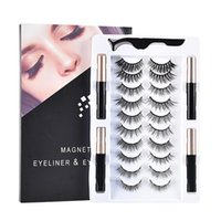 False Eyelashes 10 Pairs Of Magnetic Set Eyeliner Magnet And Tweezers Waterproof Long-Lasting Eyelash