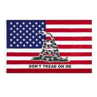 Bandera bandera de Estados Unidos 3x5 ft 90 * 150cm Fiesta de té estadounidense de los Estados Unidos No pise a mí Snake Gadsden Flags 7 Designs GGB7511