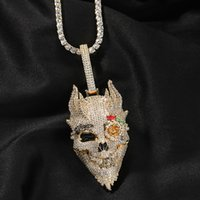Iced Out Rose Skull Pendant Necklaces Mens Gold Necklace Fashion Punk Hip Hop Jewelry