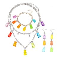 Earrings & Necklace 2021 Candy Color Gummy Mini Bear For Women Christmas Gifts Collare Star Pendants Necklaces Jewelry
