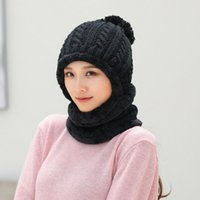Hats, Scarves & Gloves Sets Two Piece Women Autumn Winter Knit Scarf Cap Set Circle Loop Warm Hat Knitted Pom Beanie Wool Casual