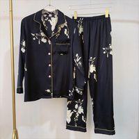 Black Stylish Pajama Set Women Sleepwear Silk Satin Spring Summer Long Sleeve Pants Two Piece Suit Home Wear Pyjama Femme