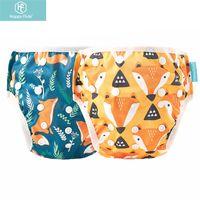 Happyflutes 2pcs / pack Baby Swim Diaper Diaper Impermeabile Panno di stoffa regolabile Pannolini da bagno per bambini Piscina Pant Pant Lezioni di nuoto / Vacanze 210312