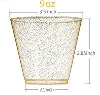 9oz 270ml 일회용 두꺼운 워터 컵 골드 파우더 와인 유리 위스키 플라스틱 주스 디저트 무스 컵 GWE10560