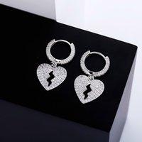 Hip Hop Altın Dangle Küpe Takı Buzlu Kırık Kalp Mens Bayan Gümüş Küpe
