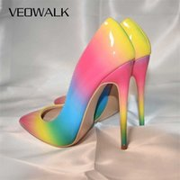 Veowalk Rainbow Красочные Патентные Кожа Женщины Сексуальное Стелето Эймальные высокие каблуки, Дамы Мода Заостренные носки Насосы для вечеринки 210610