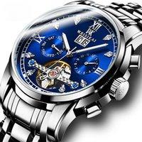 Relojes para hombre de lujo suizo Big Flywheel Mecánico automático Mecánico Luminoso impermeable Relojes de pulsera multifuncionales en línea