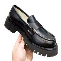 Kadınlar Yeni Elbise Düğün Parti Ayakkabı Yüksek Kalite Retro Platformu Loafer'lar Sandal Chaussures Bee Sosyal Siyah Deri Ile Örgün Loafer Tıknaz Ayakkabı 35-39