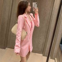 Women's Suits & Blazers Pink Women Suit Jacket Fashion Single Button Long Sleeve Pocket Casual Spring Loose Turn Down Female Coats