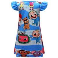 Cartoon Cocomellon JJ Boys Printing Robe longue pour enfants Mignonne bébé fille Pétale manches courtes House Robes Vêtements Mode Été Pyjamas jupe pour enfants G64Q6CN