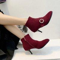 Gran tamaño 9 10 11 17 botas zapatos de mujer botas de tobillo para las mujeres zapatos para mujer mujer mujer invierno agua taladro cinturón hebilla lateral cremallera U6iz #