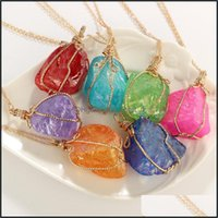 & Pendants Jewelryluxury Designer Natural Stone Bind With Wire Women Mens Necklace Iced Out Chains Pendant Necklaces Jewelry Ne1149 Drop Del