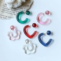 Hoop & Huggie 2Pcs 1Pair Retro Candy Color Transparent Resin Cute Flower Heart Earrings For Eoman Trendy Jewelry Gift Korean