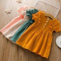 Kinder Kleidung Mädchen Solide Farbe Kleid Kinder Rüschen Sleeve Princess Kleider 2021 Sommer Mode Boutique Baby Kleidung