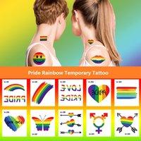 W-Series Pride Rainbow Tempory Tattoo Sticker ARM-ART CORPORET ARM ARM DE TATTOO-Stickers Festival Cadeau Health Beauté Produit BF413