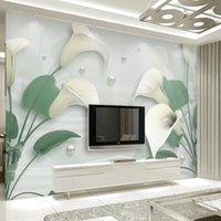 Wallpapers Custom 3D Wallpaper Poster Noble Jewelry Flower Calla Lily Mural Living Room TV Sofa Home Decor Background Wall Cloth Stickers