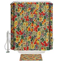 Shower Curtains Red And Yellow Flowers Art Spring Plants Colorful Home Bathroom Decoration Curtain Doormat Set