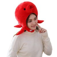 Party Masks 2021 Soft Warm Animal Cap Red Crab Cartoon Plush Hats Earmuffs PP Cotton Filled Beanies For Women Adult Hat High Quality