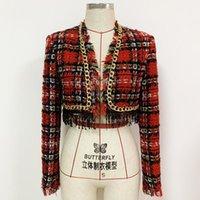 Women's Jackets Fall   Winter 2021 Metal Chain Tassel Sequin Fringe Plaid Tweed Short Jacket Coat O114