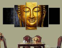 Настенный арт плакат холст картинки модульные 5 штук золотые картины Будды кухня ресторан декора гостиной