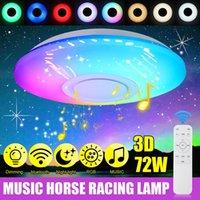 LED 천장 램프 72W RGB 음악 블루투스 앱 + 원격 제어 팔러 침실 홈 파티 장식 램프 천장 샹들리에