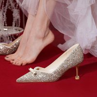 Dress Shoes Bridal Wedding Sequined High Heels Pumps Women's Sexy Pearl Gold Rhinestone Crystal Women