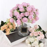 Decorative Flowers & Wreaths Wedding Decoration Fake Flower Bouquet Home Decor Artificial Crafts Ornaments Silk Arrangement Supplies