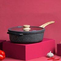 Panelas Maifan Stone Pan de Non-Stick sem fumaça oleosa wok fritar fogão dupla finalidade 24cm