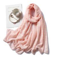 Шарфы элегантные плещественные женщины малазийский шарф обертка мусульманский хиджаб платок лето длинная шаль wj0025