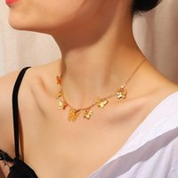 Pendant Necklaces Bohemian Cute Butterfly Choker Necklace For Women Gold Color Clavicle Chain 2021 Fashion Female Chocker Jewelry Drop Ship