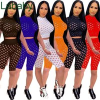 Women Designers Clothes 2021 Hollow Perspective Sexy Casual Tracksuit Mesh 2 Piece Short Sets Short Sleeve Leggings Outfits
