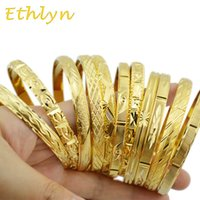 Ethlyn Fashion Dubai 골드 쥬얼리 골드 컬러 Bangles 에티오피아 Bangles 팔찌 에티오피아 쥬얼리 Bangles 선물 B01 X0706