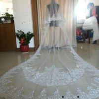 Véus nupciais reais imagem casamento longo laço applique cristais de duas camadas comprimento da catedral blusher véu