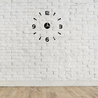 Wall Clocks 3D DIY Clock Modern Acrylic Arabic Numeral For Home Living Room Bedroom Decoration-Black(Battery Not Included)