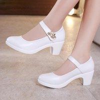 Dress Shoes Plus Size 32-43 Block Heels Platform Women Pumps 2021 Black White Mary Jane Ladies Wedding Bride