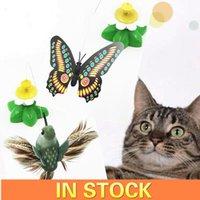 고양이 장난감 스팟 전기 새들이 꽃 애완 동물 비행 나비 티저
