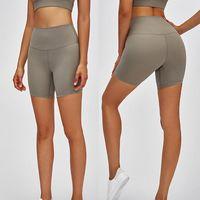 L-08 Pantalones cortos de yoga Sensación desnuda de gran altura Pantalones apretados elásticos para mujer Pantalones calientes Pantalones de yoga Trajes de deportes Fitness Slim Fit Pantalones de yoga