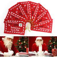 Tarjetas de felicitación Postal de Navidad Letra Caramelo Bolsa Bordado Decoración Ornamento Santa Claus Sensado Sobre