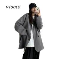 Ternos femininos Blazers Nyoolo Harajuku Estilo grande bolsos Único breasted manga comprida blazer jaqueta mulheres roupas primavera outono escritório senhora