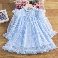 Long Sleeve Princess Dress for Girl Tulle Flower Polka Dot Kids Wedding Party Gown Children Clothing Girls Birthday Vestidos 211025