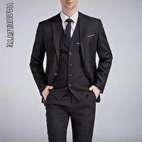 Vaguelette Blackroyal Blue Mariage Hommes costume Blanc Slim Fit Stage Costume Homme Formel Formel Gris Solide Gris Suit avec pantalon 201113