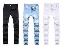 Jeans Menores Hombre Blanco Mediados de Cintura Alta Estirar Pantalones Denim Pantalones Ripiadas Para Hombres Jean Pantalón De Moda Casual