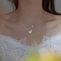 925 Sterling Silver Shiny Butterfly Tassel Necklace Female Exquisite Double Layer Pendant Clavicle Chain Wedding Party Jewelry